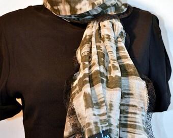 scarf kaki with lace