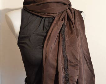 brown scarf, middle silk