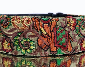 March of the Elephants Threaded Guitar Strap; Statement Guitar Strap; Unique Custom Guitar Straps; Elephant Guitar Straps; Guitar Straps