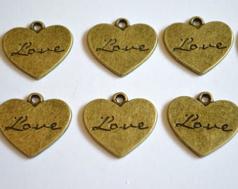 """10 x """"Love"""" Heart Charms ~ Antique Bronze ~ Lead and Nickel Free"""