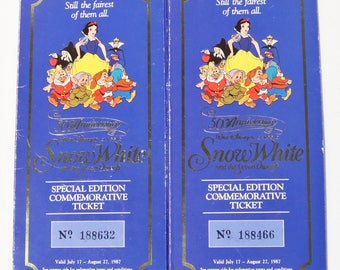 Pair of Disney's Snow White and the Seven Dwarfs 50th Anniversary Coin Ticket