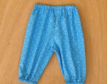 BABY BOY HAREMS, blue cotton harem pants,  size 3 6 12 18 24 months, designer cotton fabric, toddlers long pants, elastic pants boys