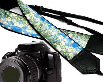 Daisies  Camera strap.  Flowers camera strap.  DSLR / SLR Camera Strap. Camera accessories.