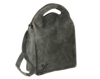 Gray Leather Messenger,  Leather Tote Bag, Women's Backpack, Leather Tote Bag, Convertible Bag, Shoulder Bag, Cross body Bag, Laptop Bag