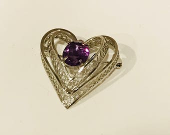 Vintage Sterling Filigree Amethyst Sweetheart Heart Pin Brooch Excellent Perfect Condition Birthday Anniversary February Birthstone