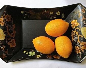 Hand Painted Elegant Harvest Vintage Tole Tray