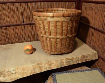 Large Vintage Chinese Bamboo Basket Tortoise Burn
