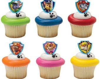Paw Patrol Pup Rescue Cupcake Topper Rings - Set of 12