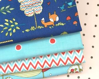 4 x Childrens Fabric Fat Quarter Bundle. Fox Playground by Dena Designs for Freespirit fabrics.