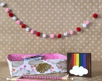 Small Sticker Storage Tote. Handmade Fabric Caddy. Small Storage Bin. Portable Storage Tote. Cute Handmade Fabric Bin. Craft Organization.