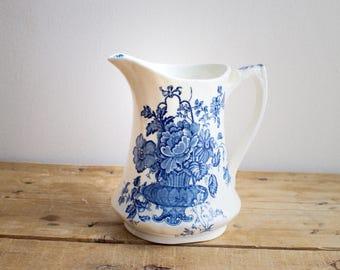 Alfred MEAKIN Charlotte Blue & White Transferware 12 ounce Pitcher, Farmhouse Decor, Wedding Gift, Birthday or Housewarming Gift