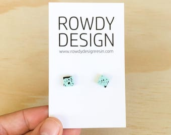 Square Stud Earrings - Blue with Black Speckle