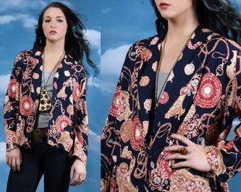 Vintage 90s Baroque Jacket • Large Size • Gold Chain Jacket • Vintage Jacket • Hip Hop • Swag • stopwatch print • oversized jacket • hipster