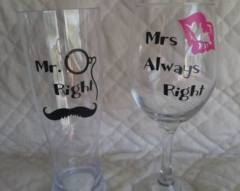 Couple wine and beer glass set