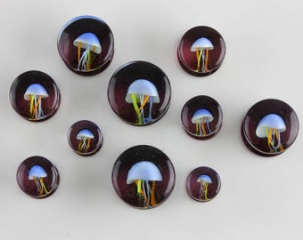 JellyFish Glass Plugs (8mm - 16mm) - Pyrex jellyfish plugs - stretched ears - G003