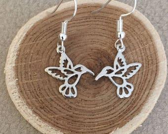 Silver Hummingbird Earrings Hummingbird Earrings Silver Plated Hummingbird Charm Hummingbird Jewelry Hummer Jewelry Bird Lover Ruby Throated