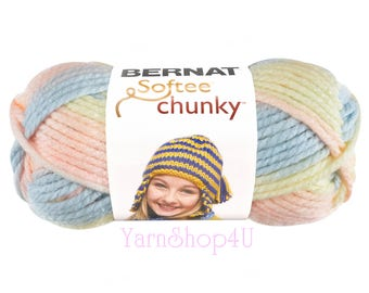 SLEEPYTIME OMBRE. Bernat Softee Chunky Super Bulky. Pink Blue Purple Yellow Pastels. Knit or crochet big, soft projects. Chunky Baby Yarn.