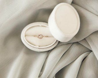 Velvet Oval Ring Box in Ivory, Off White For Weddings, Engagements, Popping The Question, Heirloom Storage, Gift Giving