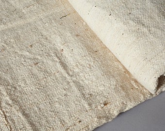 "Cream Blanket Handmade Raw Cotton Throw/Bedspread - Ethnic/Ethical/Fairtrade. Handmade in West Africa. Medium 160x130cm/63x50"". Free Ship"