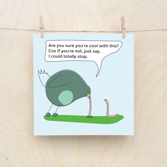 I could totally stop Funny Bird card, Funny worm card,