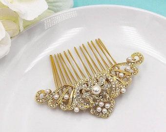 SALE 50% Off Gold Art Deco Pearl Wedding Comb, Gold Rhinestone Comb, Bridal Comb pearl, Wedding Crystal Hair Comb, Hair Comb, Wedding Access