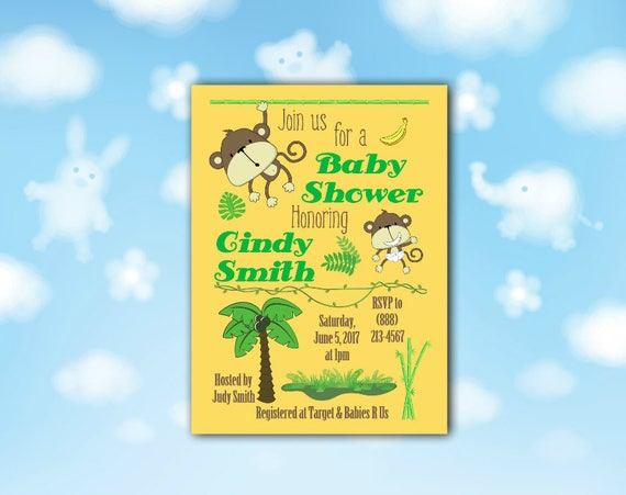 Baby Monkey Shower Invitation