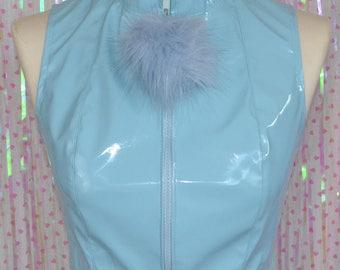 Pom pom powder puff pastel BLUE pvc CROP TOP