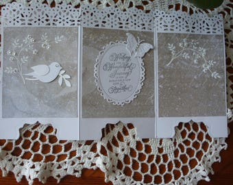 Wedding Day Card, Screen Card, On Your Wedding Day, Newly Married, Happy Couple, Congratulations, Three panels, Greeting Card, Handmade