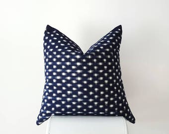 Indigo Ikat / Kasuri Pillow Cover- Handloomed Indigo, Navy, Blue and White Small Windswept Checks / Dots