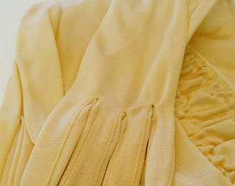 SALE | Vintage 1950s Creamy Butter Yellow Sparkle Elbow Length Evening Gloves