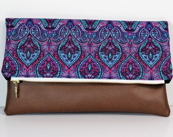 Foldover Clutch in Blue and Purple