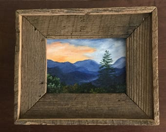 Great Smoky Mountains, Appalachian Mt., Blue Ridge Mts,  Barnwood framed, Mountain landscape,Oil painting, Landscape