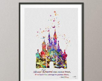Cinderella Princess Castle Watercolor Print QUOTE Fairy Tale Castle For Kids Archival Fine Art Print Princess Room Wedding Gift [NO 515]