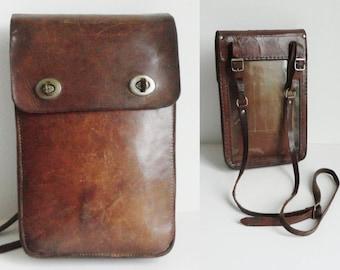 60s Vintage Leather Bag // Crossbody // Map Bag