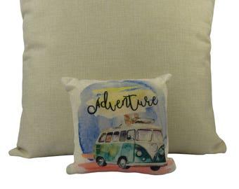 MINI: Adventure Time | Pillow | Wanderlust | Throw Pillow | Camper Van | VW Bus | Home Decor | 8 x 8 Pillow | Adventure Awaits | Pet Pillow