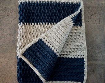 Grey and Blue Crochet Baby Blanket