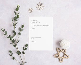 "Styled stock photography - 5x7"" stationery mockup - white card - High Res Jpeg + Psd Smart object - Christmas cards"