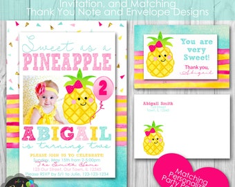 Pineapple Birthday Party, Personalized Printable Invitation, and Matching Thank You Note, Envelopes, Banner and Welcome Sign