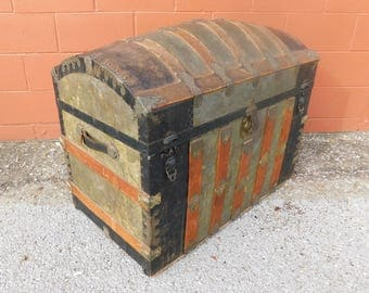 19th Century Antique Camelback Trunk / Humback Trunk / Dome Top Chest / Barrel Top Trunk / Treasure Chest / Wood and Steel / Blanket Chest