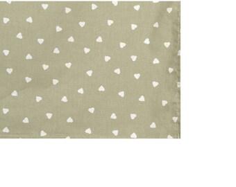 "Fabric ""hearts ecru"" square tablecloth in 150X150cm"