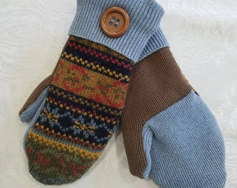 Mittens, fleece lined. Small Adult ,Made from a once loved Sweater Acrylic