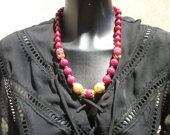beaded necklace with Ruby and vermeil crescendo.