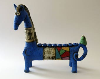 horse - ceramic horse - menorah horse - blue horse - ceramic sculpture - sculpture - ceramic art - Israeli art - hanukka