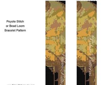Brown and Gold Beadweaving Bracelet Pattern - Peyote Stitch and Loom Bracelet Pattern - Brown and Gold Delica Bead Pattern