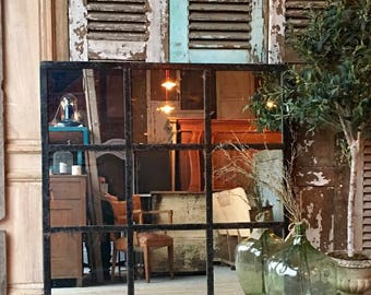 Beautiful Vintage French Architectural / Industrial Mirrored Window frame
