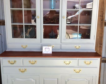 Grey Hutch Curio China Cabinet DO NOT SHIP