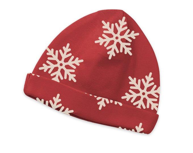 Christmas Newborn Baby Hat, Newborn Holiday Beanie, Newborn Boy Beanie Cape, Baby Girl Red Christmas Beanie, Baby Snowflake Cap, TesaBabe