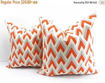 SALE Orange Pillow. Orange Natural Pillow Cover. Set of 2 Sham cover. Orange blue and natural. Cushion cover. Select  size.