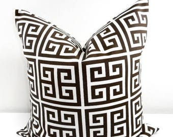 SALE BROWN  Pillow. Brown Outdoor Indoor Pillow cover. Greek Key Brown  and White. Stain dirt resistant. Cushion Cover. Select your size