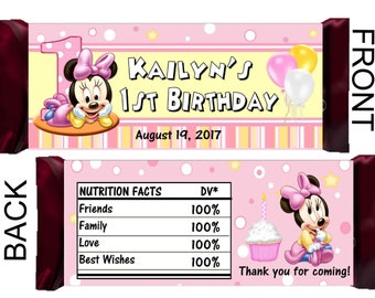 12 MINNIE MOUSE 1st Birthday Party Favors Candy Bar Hershey Bar Wrappers - We Print & Ship